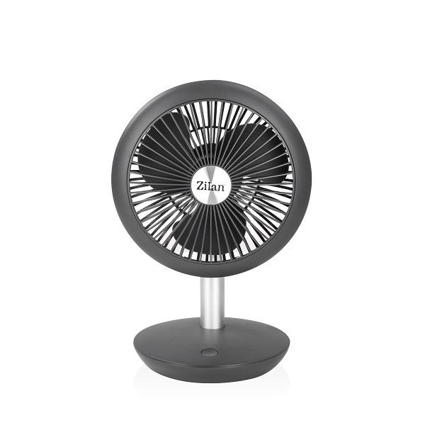 Ventilator portabil reincarcabil ZILAN ZLN-4000, incarcare USB, Putere 5W, Diametru 18 cm, 4 viteze reglabil pe vertical, Gri