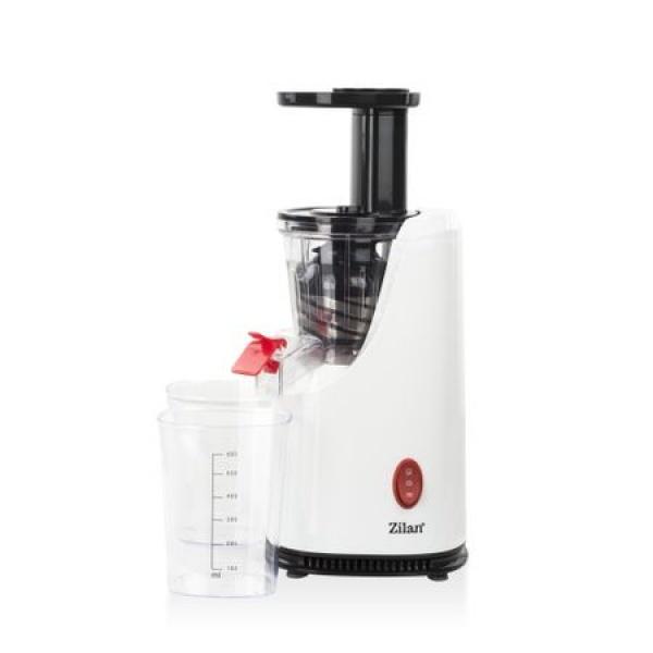 Storcator de fructe si legume cu melc Zilan ZLN-4014, Alb 200 W, 58-65 RPM, Recipient suc 600 ml, Recipient pulpa 600 ml, Functie Reverse,