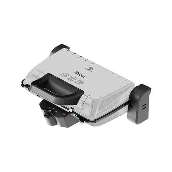 Gratar electric ZILAN ZLN-4021, 1600 W, Termostat reglabil, Placi antiaderente, Inox