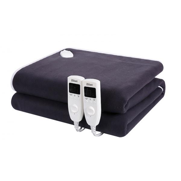 Patura cu incalzire electrica Soft Polar Fleece, Negru Pentru doua persoane 160X140 cm, 2x60 W, Temporizator 1-10 ore, ZILAN ZLN-4120,