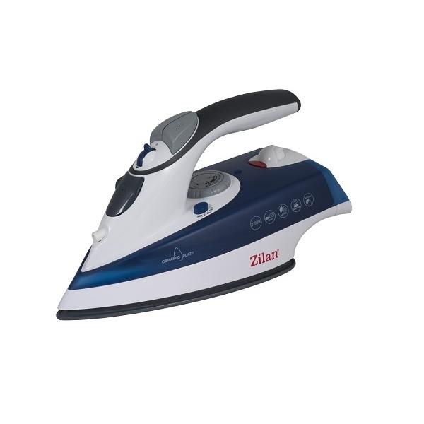 Fier de calcat talpa ceramica ZILAN ZLN-8082, Putere 2200W, calcare cu aburi si uscata, functie autocuratare,Albastru