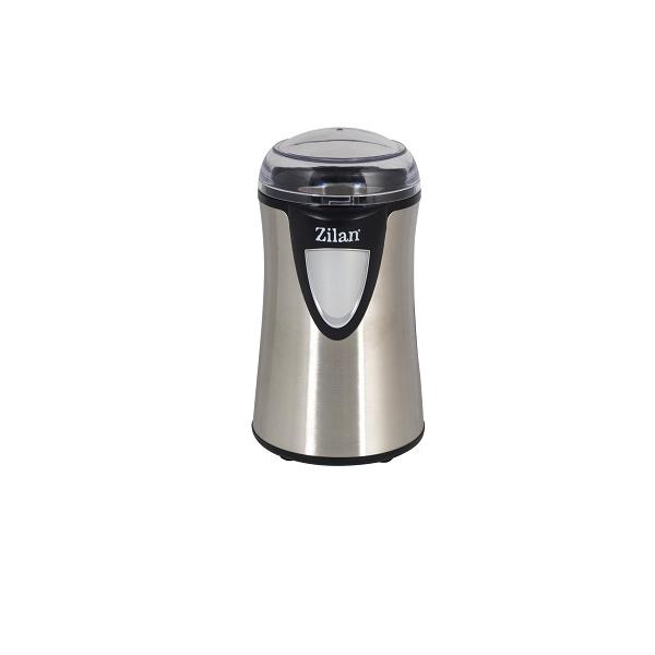 Rasnita cafea electrica, Zilan ZLN-8013,Argintiu /Negru 150 W, inox, cutite macinare otel inoxidabil