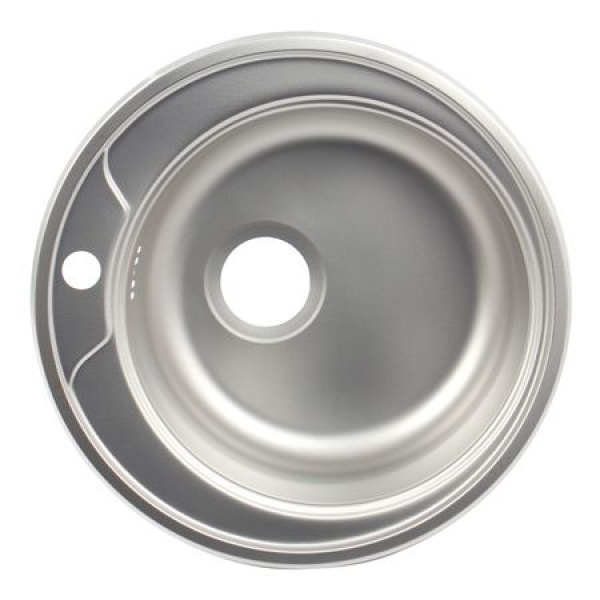 Chiuveta bucatarie rotunda, Diametru 48 cm, Inox, Finisaj anticalcar, Pentru blat, ZLN-6300