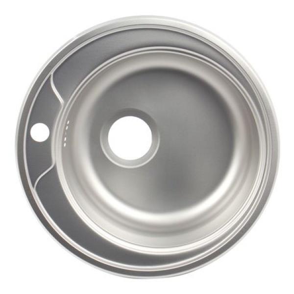 Chiuveta bucatarie rotunda+sifon scurgere cu preaplin, Diametru 48 cm, Inox, Finisaj anticalcar, Pentru blat, ZLN-6300