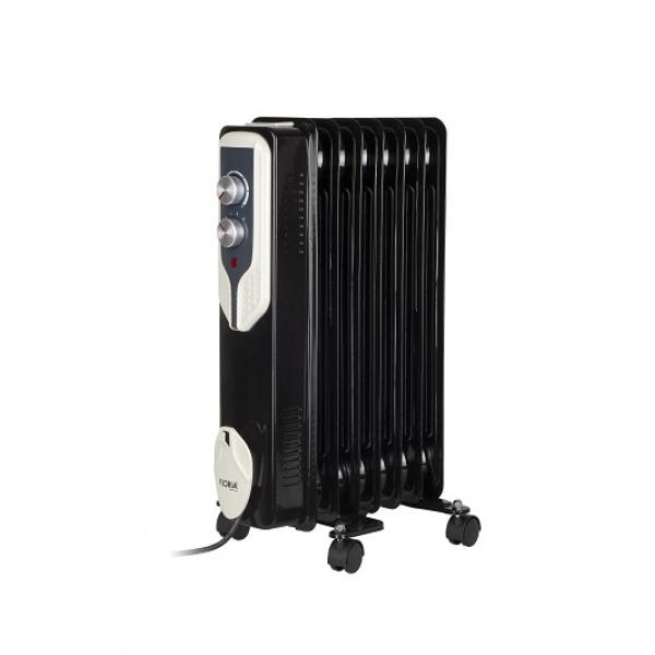 Calorifer electric Floria ZLN-3642,Negru 1500 W, 7 elementi, 3 trepte de putere, Termostat reglabil, Protectie supra-incalzire, Indicator luminos,