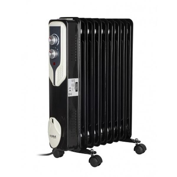 Calorifer electric Floria ZLN-3659, 2000 W, 9 elementi, 3 trepte de putere, Termostat reglabil, Protectie supra-incalzire, Indicator luminos, Negru