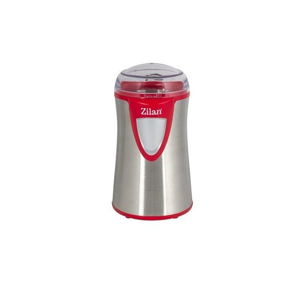 Rasnita cafea electrica, Zilan ZLN-8013,Argintiu /Rosu 150 W, inox, cutite macinare otel inoxidabil