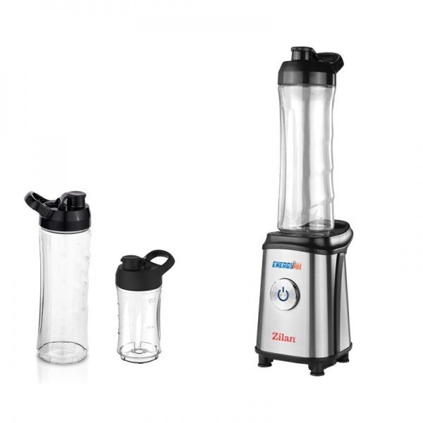 Blender inox pentru smoothies ZILAN ZLN-0504, 350 W, 3 recipiente 600ml/600ml/300ml
