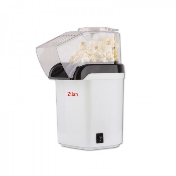 Aparat Pentru Popcorn Zilan ZLN-8044, Putere 1200W, sistem cu jet de aer cald,Alb
