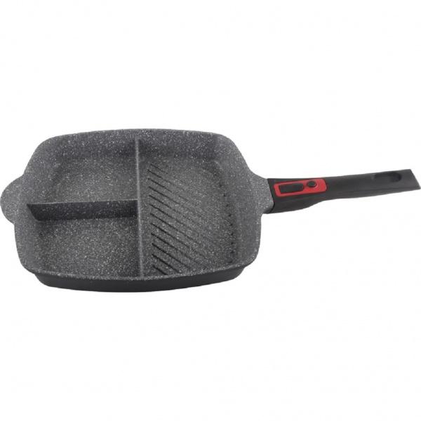 Tigaie grill 3in1 Zilan ZLN-3352, 28 cm, Material aluminiu, Interior granit, Maner soft touch detasabil, Compatibil inductie