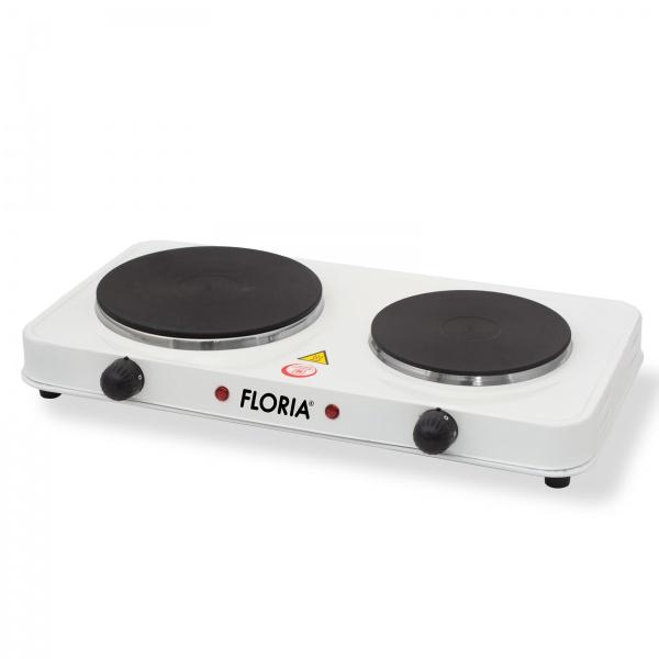 Plita electrica Floria ZLN-2843, 2 ochiuri, termostat reglabil, Alb