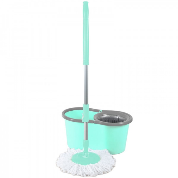 Galeata magic mop LISA ZLN-1389, Mop rotativ 360 grade, Capacitate galeata 12L, Bleu