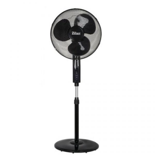 Ventilator cu picior ZILAN ZLN-1204,Negru 50W, 40 cm diametru, Telecomanda, Timer,