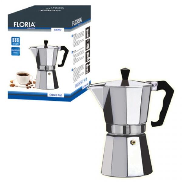 Cafetiera Espresso Floria, 3 cesti, 150 ml, ?8 cm, aluminiu, Argintiu